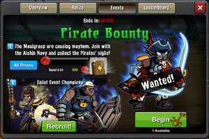 Event Pirate Bounty window