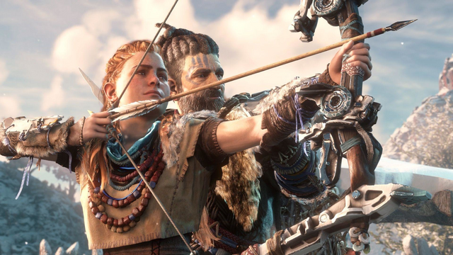 File:Aloy preparing to shoot an arrow.png