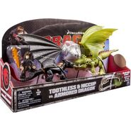 Toothless and Hiccup vs. Armored Dragon Figures
