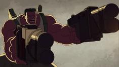 Red Hulk is shooting Skaar-Venom
