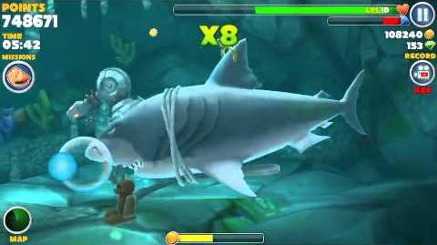 Hungry shark evolution, all 15 sunken (hidden) object locations found in one swim using Megalodon-1419172916