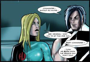 HU Commander (Natasha Lawler) and Nemesis - art by Nepath