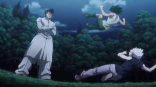 Gon and Killua starting fight with Knuckle