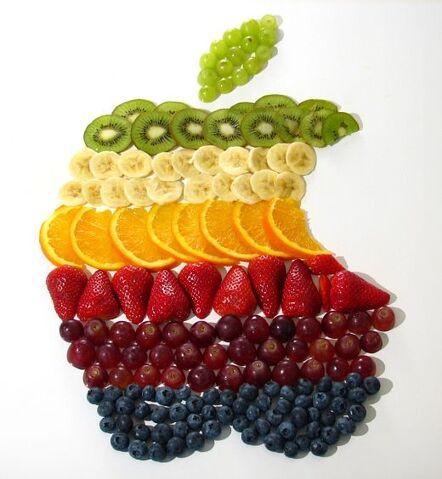 File:Apple logo rainbow fruit.jpg