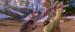 Granny has Sid chew an apple
