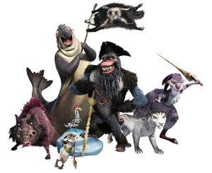 Pirates Gutt, Raz, Flynn, Shira, Squint, Gupta, Silas, and Dobson