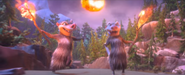 Crash and Eddie running with torches