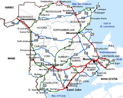 New Brunswick road map