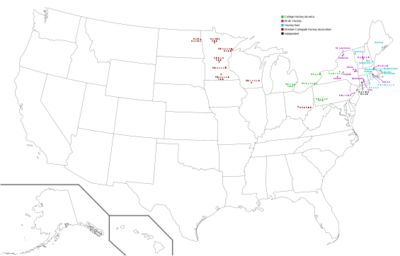 File:Map - College Hockey - all women's D-I locations.png