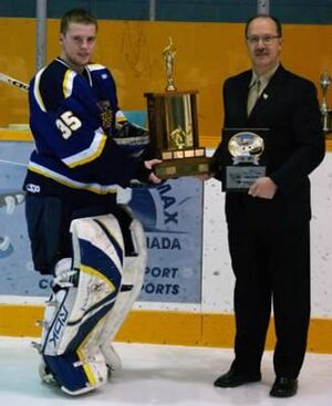 Brant Hilton with MJHL Top Goaltender Award