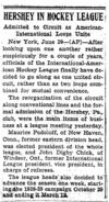 """Hershey in Hockey League"" (from The Philadelphia Record, 6-29-1938)"