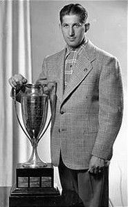 Elmer Lach with Hart Memorial Trophy