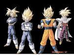 DBZ SSJ Goku SSJ Vegeta USSJ Trunks And SSJ Gohan