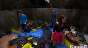 Garrett, Logan, and Jasmine in the dumpster