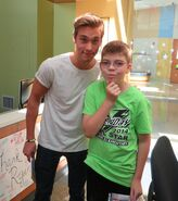 Austin North with a fan