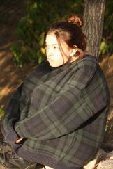 Piper in a big sweater