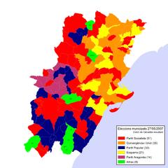 Eleccions Municipals 2007-05-27 (alcaldies resultants).png