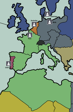 French territories (green) in Europe and North Africa