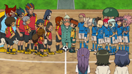 Red Matador and Inazuma Japan in episode 102 of the anime