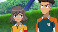 Shindou and Sangoku talking about the new goalkeeper GO 31 HQ