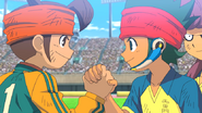 Mamoru and Kanon handshake