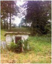 Above ground tomb behind elmhurst