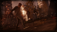 Delsin uses chain against two DUP Soldiers