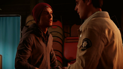 Delsin talks with Reggie in the Longhouse during Aftermath mission