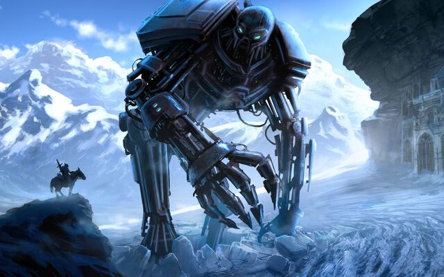 File:457687 art robot gigantskij sneg chelovek vsadnik kon mec 1680x1050 (www.GdeFon.ru).jpg