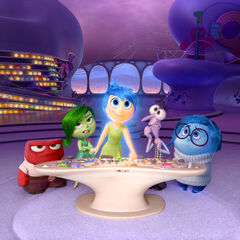 Anger, Disgust, Joy, Fear and Sadness in Riley's mind in the <i>Inside Out</i> teaser trailer