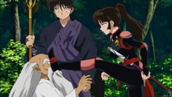 Sango kicks Master of Potion's face