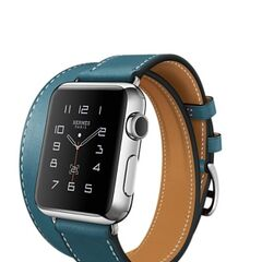 Silver Apple Watch Hermes with Stainless Steel Case and Double Strap Hermes Blue Band