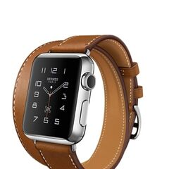Silver Apple Watch Hermes with Stainless Steel Case and Double Strap Hermes Brown Band