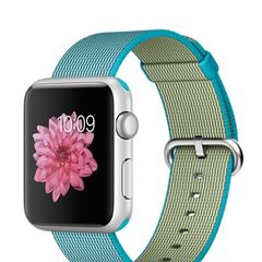 Silver Apple Watch Sport with Scuba Blue Woven Nylon Band
