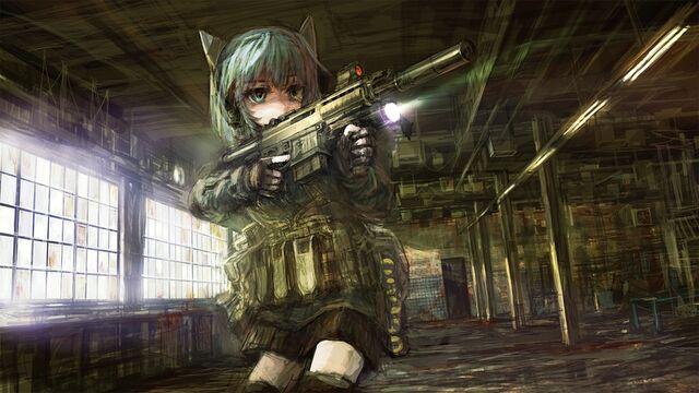File:Guns military skirts weapons blue hair animal ears short hair green hair anime anime girls scarl www.wallmay.net 6.jpg