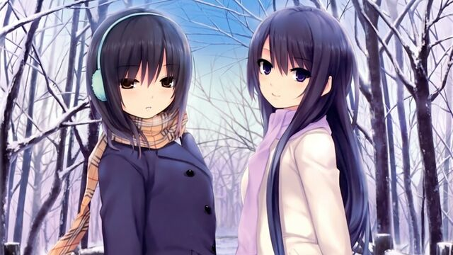 File:Winter season snow trees long hair brown eyes pantyhose short hair scarf purple eyes two girls coa www.wallmay.net 65.jpg
