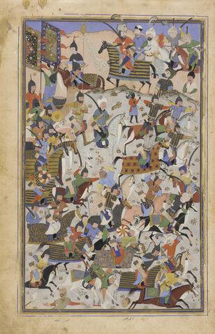 File:Safavid Dynasty, Battle Scene, by Mahmud Musawwir, 1525-1550 AD (2).jpg