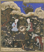 Timurid Dynasty, The Prophet Elias and Khadir at the Fountain of Life, late 15th century