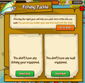 Fishing tackle menu no items brought