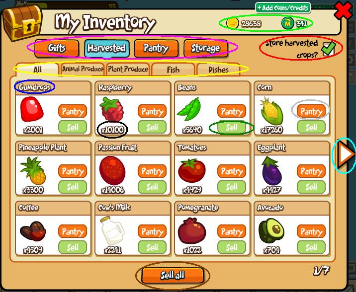 Inventory window sub tabs