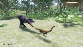 The Stomp Land Tyrannosaurus Rex chasing Gallimimus Prototype Art 1 The Isle