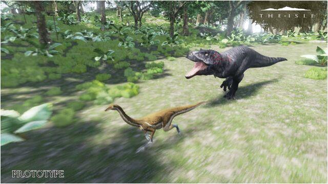 File:The Stomp Land Tyrannosaurus Rex chasing Gallimimus Prototype Art 2 The Isle.jpg
