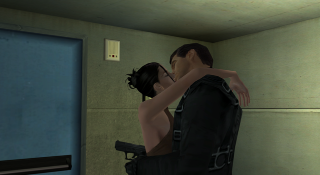 File:Bond and Dominique kiss in the stairwell (Nightfire, GC).png
