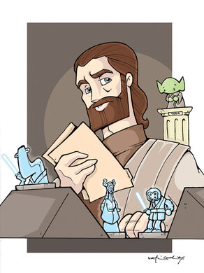 Obi Wan in the jedi archives by katiecookie