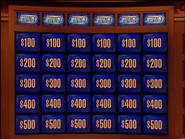Jeopardy! sushi bar-era game board