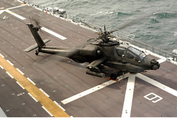 U.S. Army AH-64 prepares to launch from USS Nassau Feb 2005