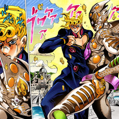 Giorno with his new Stand, <b><a href=