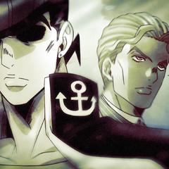 Kira adamantly walks past an unsuspecting Josuke.