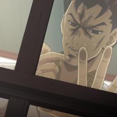 Kira anxiously looking outside at women.