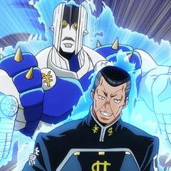 Okuyasu reveals his Stand, <a href=